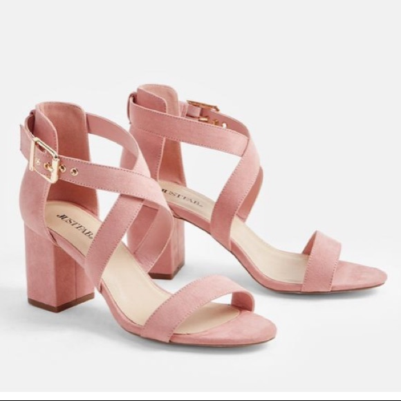 c4fad2431d6a Pink Block Heeled Sandals with Ankle Strap
